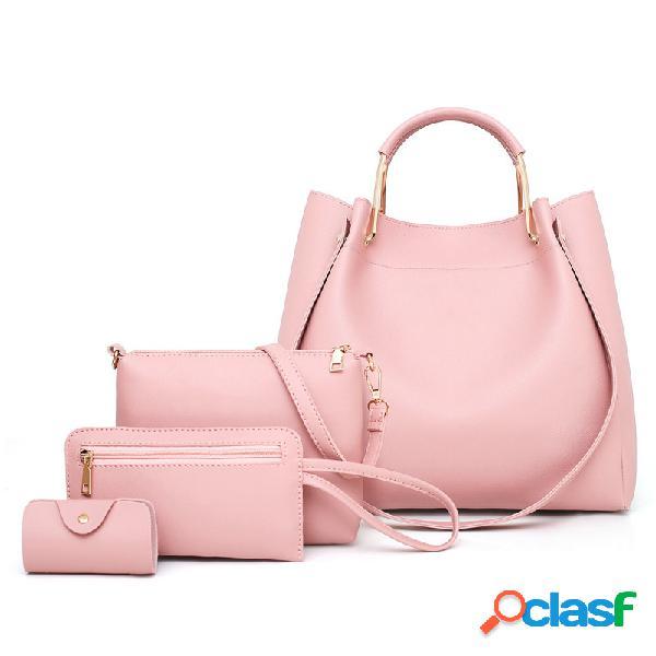 Mujer conjunto de cuatro piezas de cuero sintético liso hombro bolsa embrague bolsa