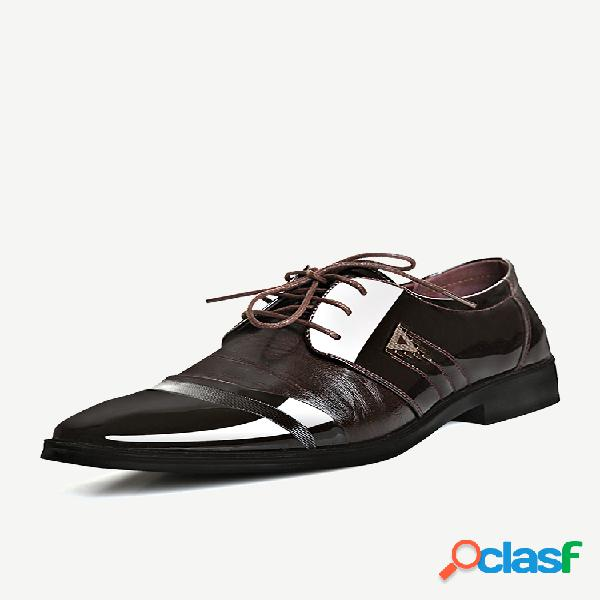 Hombre classic zapatos casuales formales de negocios cómodos con cordones en punta de casquillo