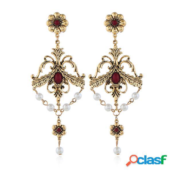 Vendimia geométrico hueco largo pendientes flor perla diamante de imitación colgante pendientes joyería de moda