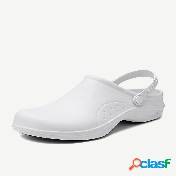 Mujer impermeable 2 en 1 slip-on slingback zuecos zapatos de trabajo para chef y enfermera