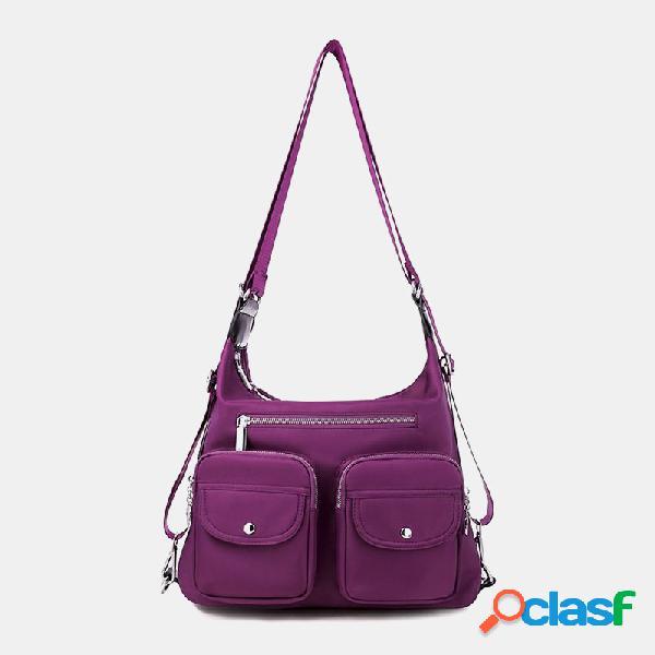 Mujer impermeable mochila multi-carry multi-bolsillo solid crossbody bolsa