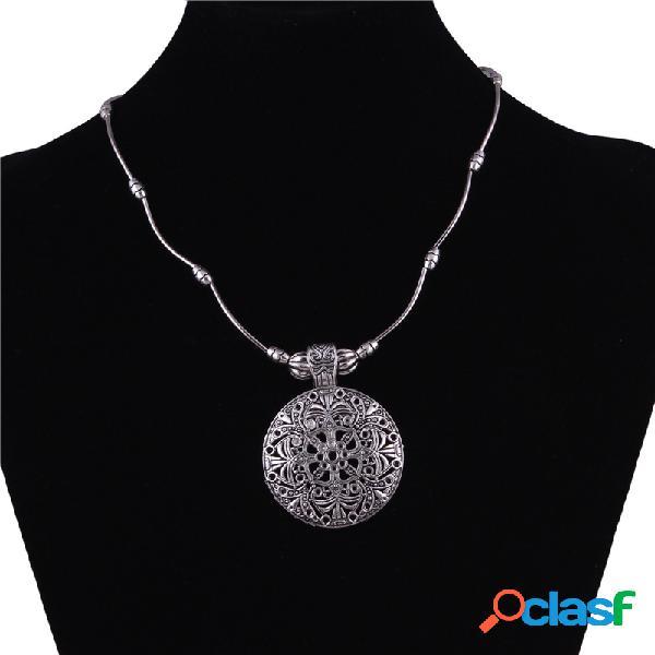 Vendimia colgante collar plata antigua flor hueca collar redondo joyas étnicas para mujer