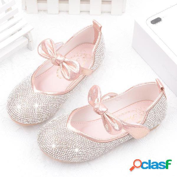 Zapatos planos de mujer con brillo en la parte superior de bowknot congelados elsa princess rhinestone