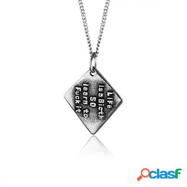 Collar de diamantes geométricos de moda colgante collar de acero de titanio para hombres vendimia joyas