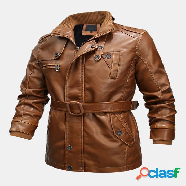 Hombres invierno moda espesar forro polar chaqueta de cuero pu medio largo liso