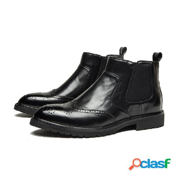 Tobillo en punta de cuero de microfibra antideslizante para hombres botas