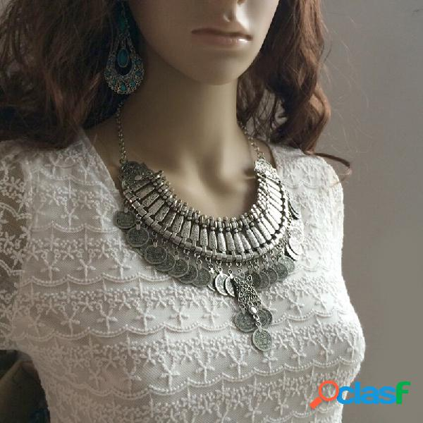 Vendimia collar tallado en metal multicapa con borlas de monedas antiguas colgante mujer collar