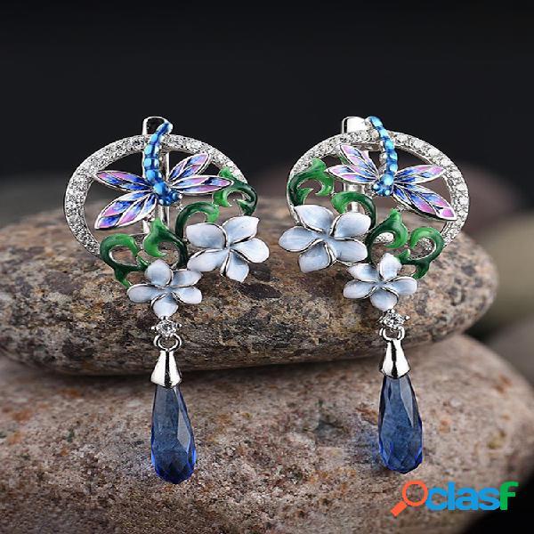 Esmalte de circón mujer conjunto de joyas flor de epoxi libélula colgante compromiso pendientes collar anillo