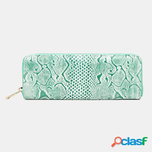 Mujer piel genuina wave patrón 6.5 inch cartera con clip para dinero para teléfono