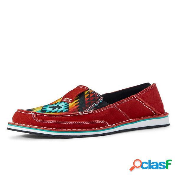 Zapatos individuales de gran tamaño para mujer folkways casual slip en planos de lona planos cosidos a mano