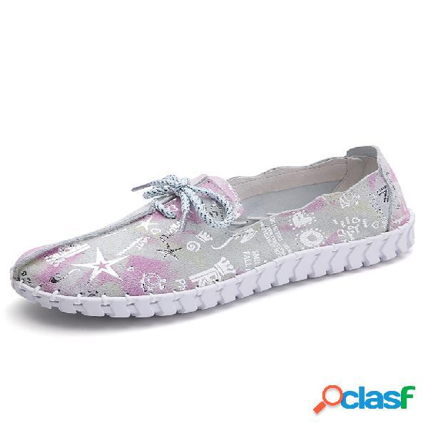Mujer soft piel genuina zapatos casuales para caminar con cordones