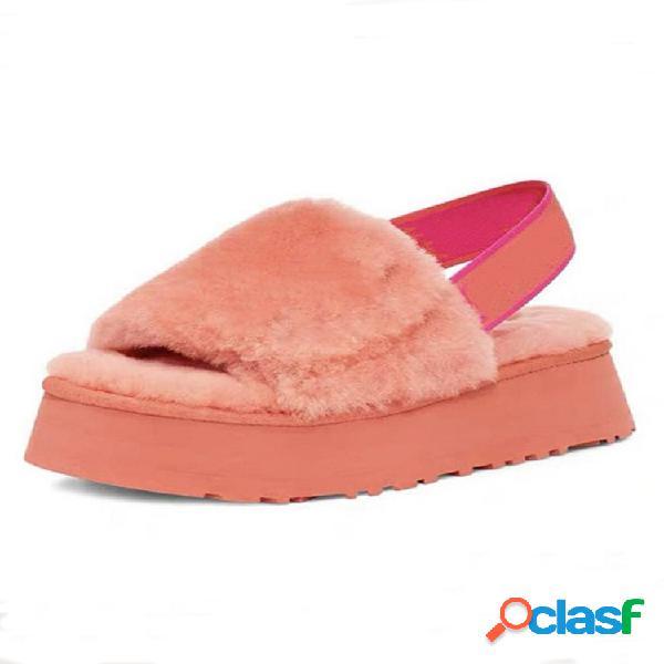 Peluche de invierno con punta abierta de gran tamaño para mujer zapatillas