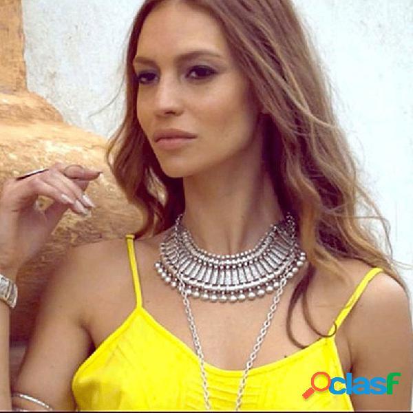Vendimia collar tallado en metal cadena de clavícula de moneda antigua bohemia mujer collar