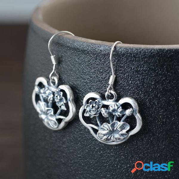 Vendimia pendiente de plata esterlina 925 flor tridimensional hueco colgante pendiente