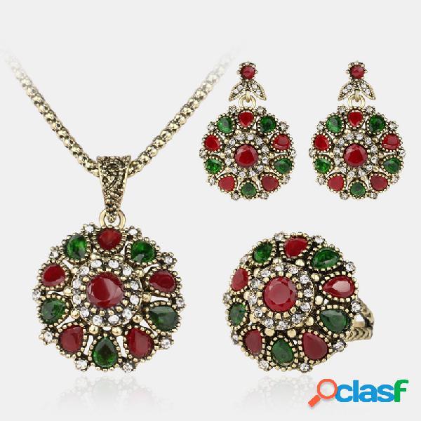 3 piezas vendimia mujer conjunto de joyas collar de montaje de diamantes de imitación pendientes anillo de escenario joyería cheongsam