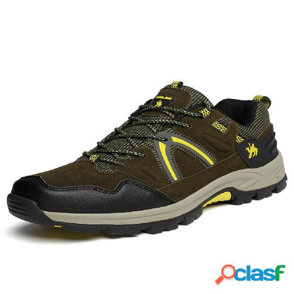 Hombre al aire libre zapatillas deportivas de senderismo informales antideslizantes de ante sintético