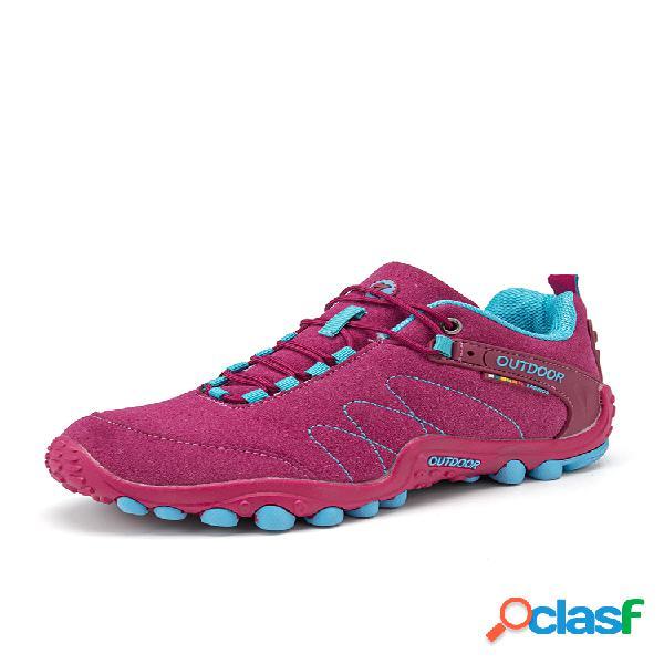 Mujer al aire libre impermeable zapatos de senderismo antideslizantes con cordones