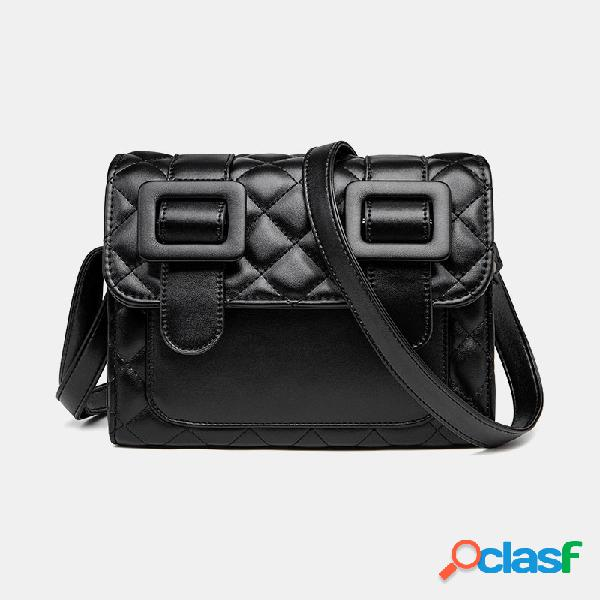 Mujer teléfono acolchado sólido informal bolsa crossbody bolsa