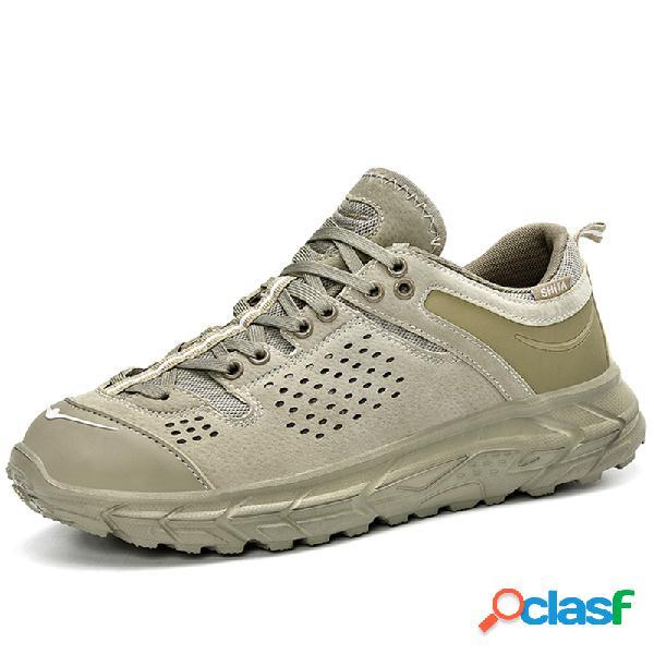 Hombres de microfibra de cuero empalme antideslizante al aire libre zapatillas deportivas casuales