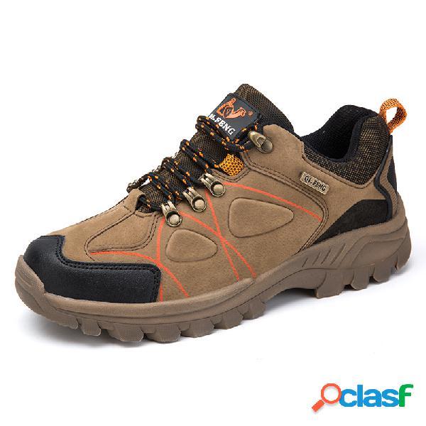 Hombres suede antideslizante usable al aire libre zapatillas de senderismo casuales