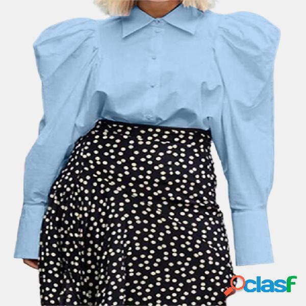 Vendimia manga larga con cuello vuelto de color liso gigot camisa