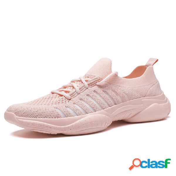 Al aire libre zapatillas gruesas de malla con cordones en la parte delantera para mujer