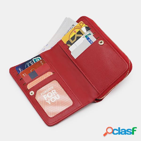 Mujer cuero pu 8 ranuras para tarjetas tarjeta fotográfica teléfono bolsa monedero con clip para dinero