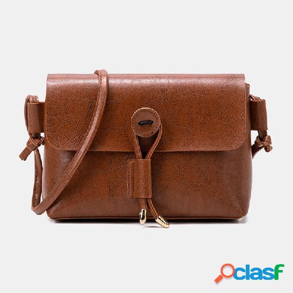 Mujer sólido vendimia bandolera bolsa hombro de cuero pu bolsa