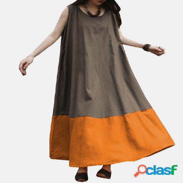 Vendimia maxi sin mangas con bloques de color liso vestido