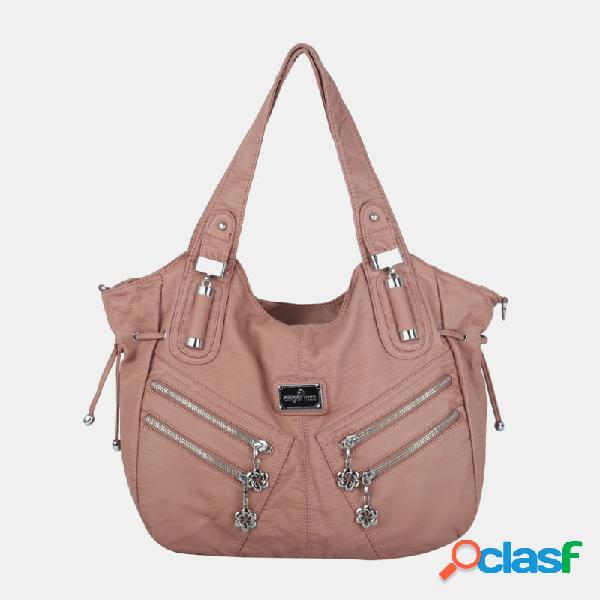 Mujer multibolsillos impermeable bolso bandolera de hardware bolsa hombro bolsa bolso tote