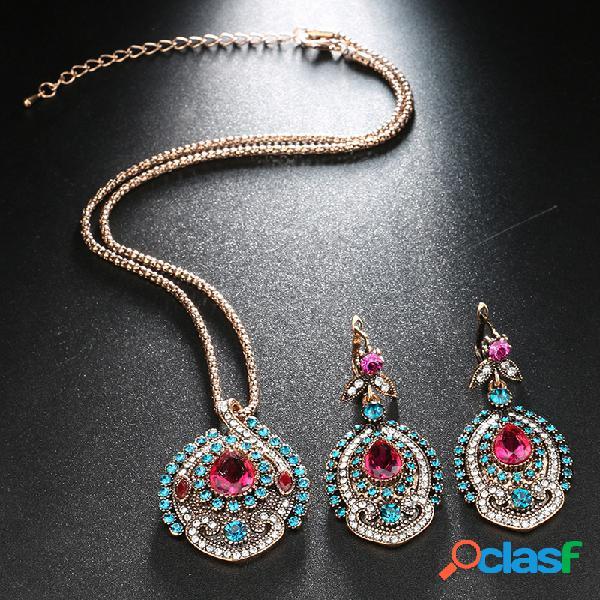 2 piezas vendimia mujer conjunto de joyas cristal nupcial bohemio boda collar pendientes joyas