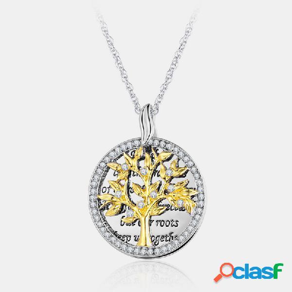 Vendimia collar redondo geométrico colgante collar de diamantes de imitación de metal árbol de vida hueco colgante collar