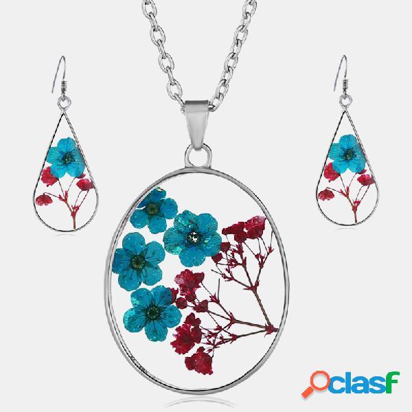 Vendimia conjunto de pendientes de collar de flores secas naturales collar de resina margarita gota de agua geométrica pendientes