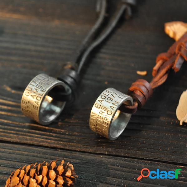 Vendimia hombres simples mujer carta anillo digital colgante collar collar de cadena de piel de vaca ajustable
