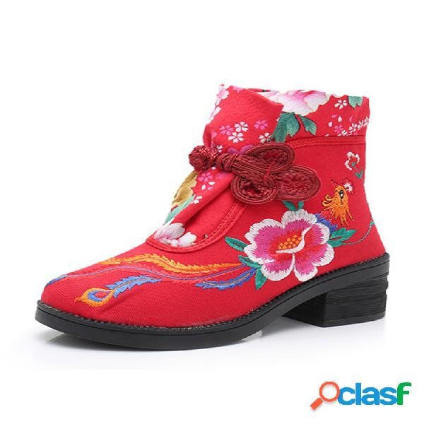 Mujer folkways bordado flor nudo chino hebilla lona tacón grueso corto botas