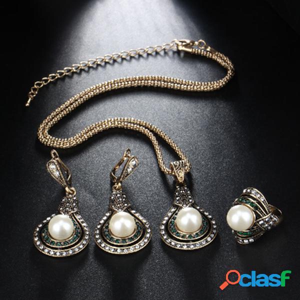 3 piezas vendimia forma de calabaza mujer conjunto de joyas collar de perlas de cristal ajustable anillo pendientes kit