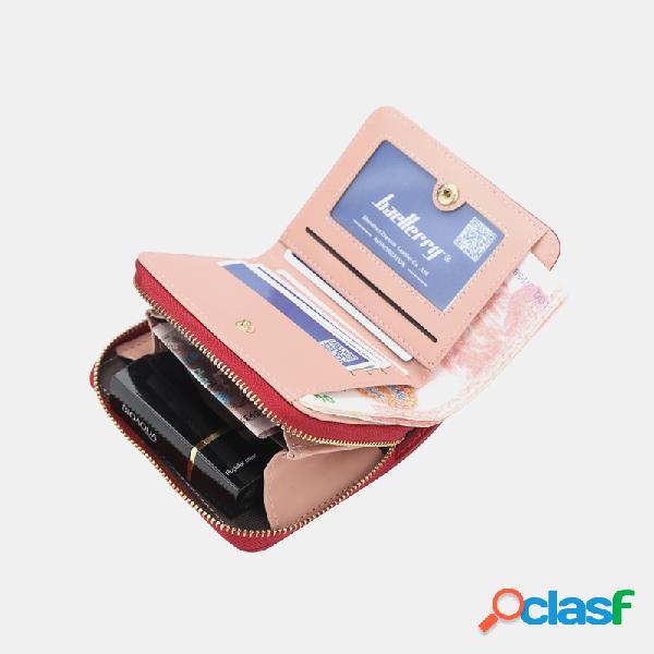 Mujer rifd borla cuero pu ranuras para tarjetas múltiples tarjeta fotográfica clip de dinero monedero corto
