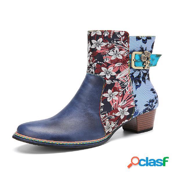 Socofy flores elegantes empalme de tela punta redonda cuero cómodo tacón grueso corto botas