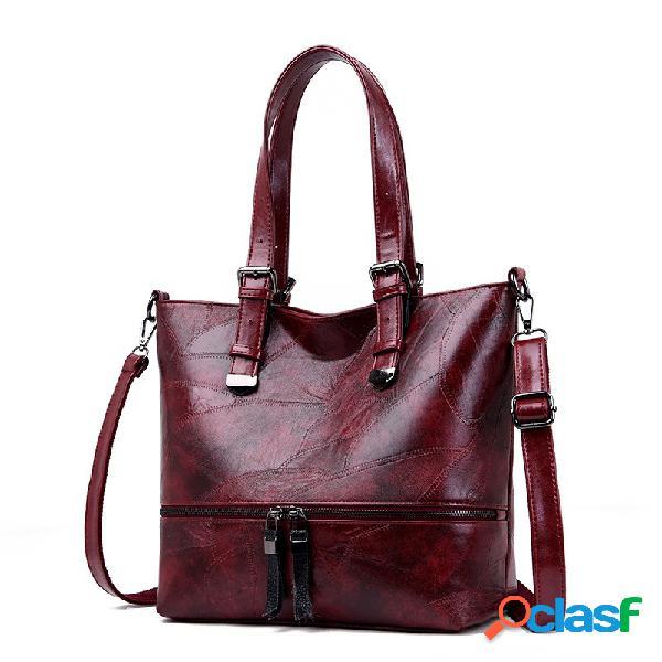 Vendimia bolso de mano de imitación de cuero de gran capacidad tote bolsa hombro bolsa para mujer