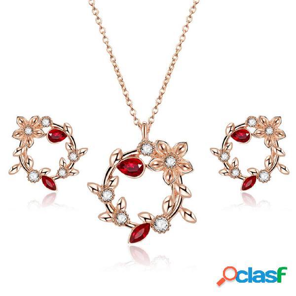 Vendimia conjuntos de joyas flor redonda hojas rhinestone encanto collar pendientes joyería bohemia