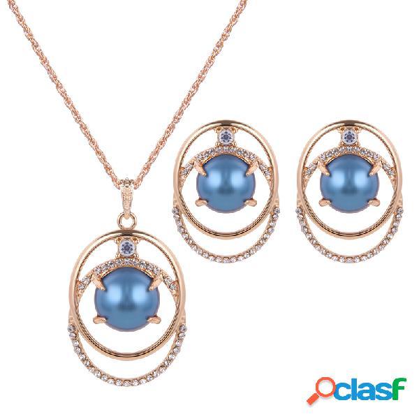 Joyería elegante conjunto de diamantes de imitación círculo perla pendientes conjunto de collar