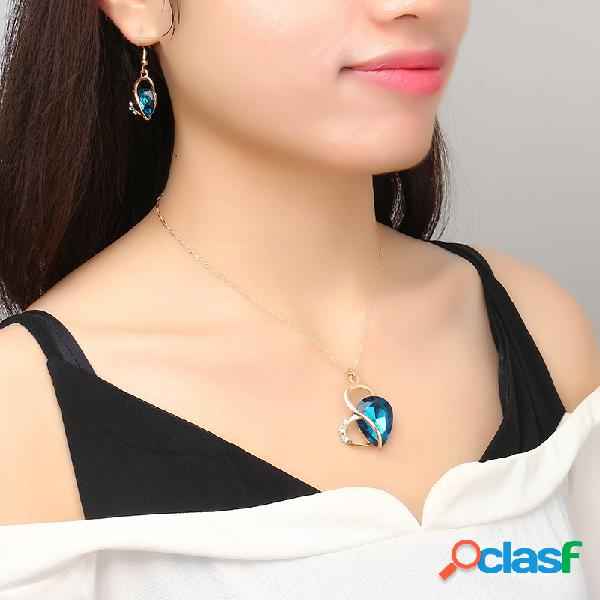 Conjunto de joyas de corazón conjunto de aleación de cristal de diamantes pendientes conjunto de collar