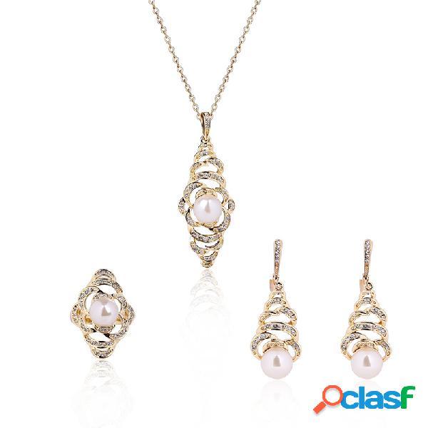 Joyería de moda conjunto de perlas de diamantes de imitación especial conjunto de collar de anillos