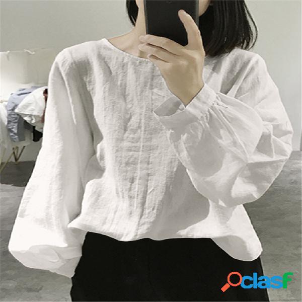 Vendimia blusa suelta de manga larga lisa de color liso