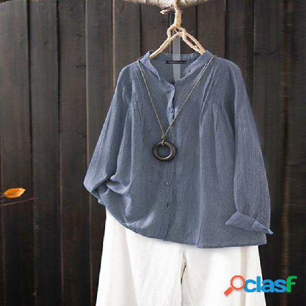 Vendimia manga larga en color liso plus tamaño camisa para mujer