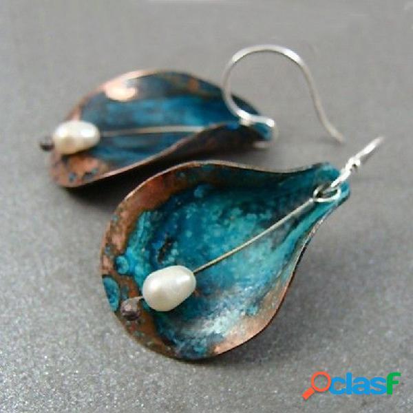 Vendimia perla geométrica pendientes metal hoja colgante pendientes joyas étnicas