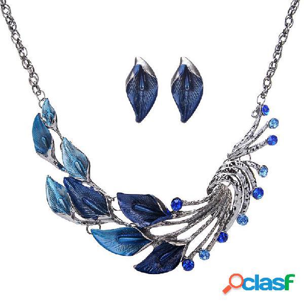 Colgante de joyería de la vendimia conjunto mar taro flor pavo real cola colgante collar de cadena pendientes para mujeres