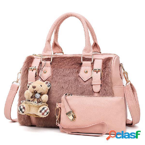 Mujer conjunto de dos piezas bolsos de cuero sintético de diseño bolsos de hombro bolsa embrague bolsa