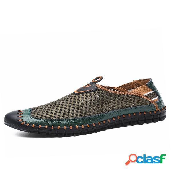 Zapatos de agua de malla con costura a mano de gran tamaño para hombres al aire libre zapatillas de deporte antideslizantes