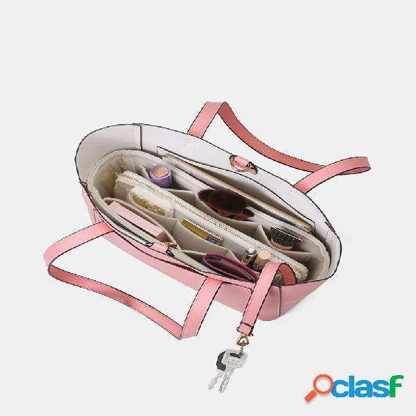 Mujeres 3 uds.multibolsillos de gran capacidad 13,3 inch llave para portátil sólido tote hombro bolsa con monedero organizador inserción